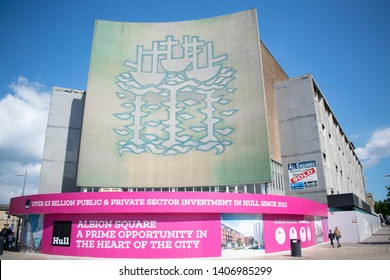 Kingston Upon Hull, England - 12th May 2019: British Home Store BHS three ships historic sing above the closed down shop, due to be tared down in city centre of Hull. Redevelopment investment area