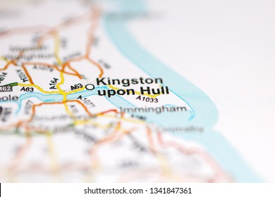 Kingston upon Hull. United Kingdom on a geography map