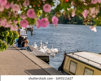 Kingston Upon Thames, London, England - August 24, 2019: Sunny day among river Thames with tourists sitting on the riverbank admiring the landscape and wild birts