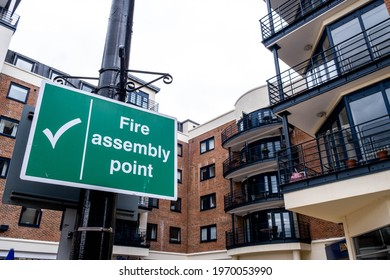 Kingston Upon Thames London UK, May 07 2021, Fire Assembly Point Sign Outside A High Rise Block Of Luxury town Centre Flats