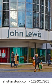 Kingston upon Thames, Royal Borough of Kingston upon Thames / England - 11/3/2018 : John Lewis Store building in the town centre is one of the largest retailers in this upmarket part of London.