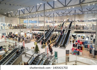 Kingston upon Thames, Surrey/UK -  12/11/2018: Interior atrium of John Lewis department store with different departments on several levels