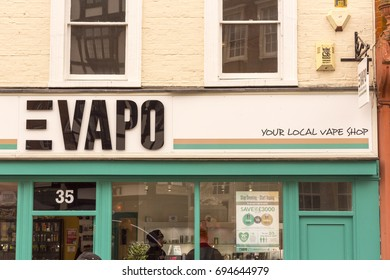 KINGSTON UPON THAMES, UK 18 MARCH 2017: Shop sign for EVAPO, sellers of Nicotine vaping products since 2014 in the UK