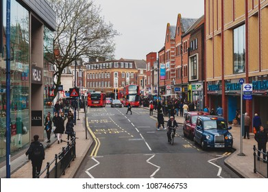 Kingston upon Thames, United Kingdom - April 2018: Business and shopping area on Eden Street, Kingston upon Thames in Greater London, England