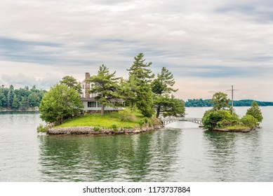KINGSTON,CANADA - JUNE 24,2018 - Thousand Islands at the Saint Lawrence river. The Thousand Islands constitute an archipelago of 1,864 islands.