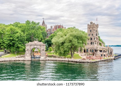 KINGSTON,CANADA - JUNE 24,2018 - View at Alster tower on Heart Island on US territory of Thousand Islands. The Thousand Islands constitute an archipelago of 1,864 islands.
