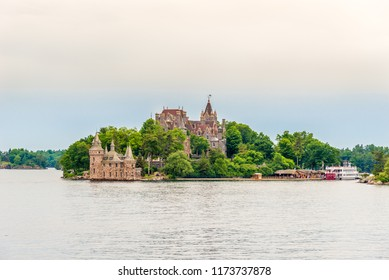 KINGSTON,CANADA - JUNE 24,2018 - View at Boldt Castle and Power house on Heart Island on US territory of Thousand Islands. The Thousand Islands constitute an archipelago of 1,864 islands.