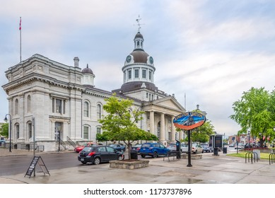 KINGSTON,CANADA - JUNE 24,2018 - View at the City hall and market building in Kingston. Kingston is a city in eastern Ontario of Canada.