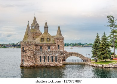KINGSTON,CANADA - JUNE 24,2018 - View at Power house on Heart Island on US territory of Thousand Islands. The Thousand Islands constitute an archipelago of 1,864 islands.