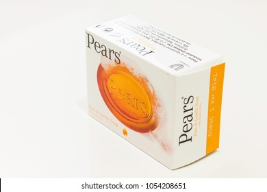 Kingston/Jamaica - March 25 2018: Bar of Pears Pure and Gentle Soap on a white background.