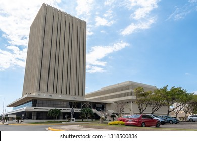 Kingston/Saint Andrew, Jamaica - February 05 2019: Bank of Jamaica, the central bank in Jamaica, located in downtown Kingston. This Bank sets interest rates and issues bank notes for the country.
