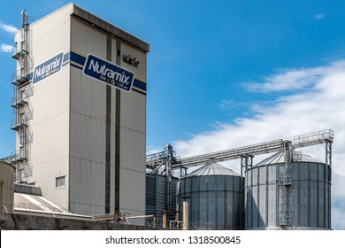 Kingston/Saint Andrew, Jamaica - February 05 2019: Newport Mills Limited, manufacturer of NUTRAMIX feeds and a member of the Caribbean Broilers (CB) Group is the most modern feed mill in the Caribbean