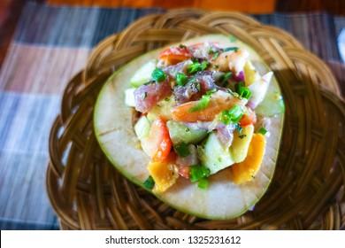 Kinilaw in Coconut Bowl, a Raw Fish Filipino Dish like Ceviche, Siargao, Philippines