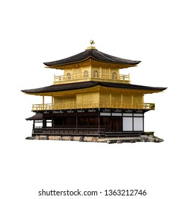 "Kinkaku ji (literally ""Temple of the Golden Pavilion""), officially named Rokuon ji (literally ""Deer Garden Temple"") in Kyoto (Japan) isolated on white background"