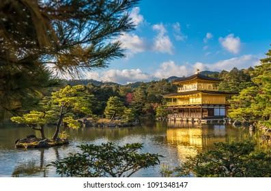 Kinkaku-ji buddhist temple or Golden pavilion, Kyoto, Japan