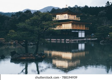 Kinkakuji Golden Pavilion with reflection during Spring in Kyoto
