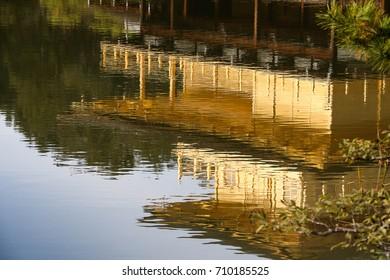Kinkakuji (Golden Pavilion), traditional Kyoto temple in Japan / reflection miror effect