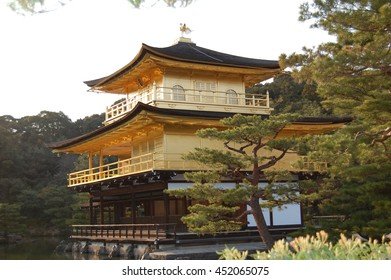 Kinkakuji , the Golden Temple of Kyoto . One of Japan's postcards.