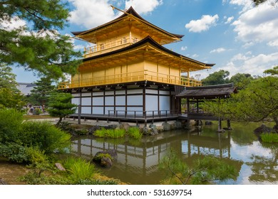 Kinkaku-ji (Temple of the Golden Pavilion) is a Zen Buddhist temple in Kyoto, Japan. historic landmark in japan. Beautiful architecture building landscape.