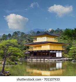 The Kinkaku-ji Temple, the golden pavilion, a Zen buddhist temple in kyoto, Japan