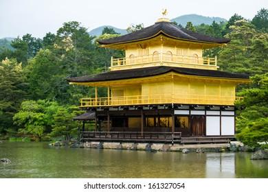 kinkakuji temple Japan on raining day