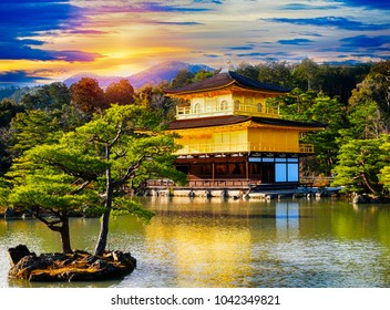 Kinkaku-ji Temple in Kyoto, Japan or Golden Pavilion with beautiful Japanese garden and beautiful Architecture at Japan.