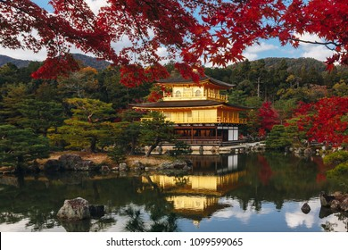 """Kinkaku-ji Temple with Red leaf in Autumn season. Buddhist temple in Kyoto, Japan. For other topics translated as """"Temple of the Golden Pavilion"""" or """"Golden Pavilion Temple"""" in English."""