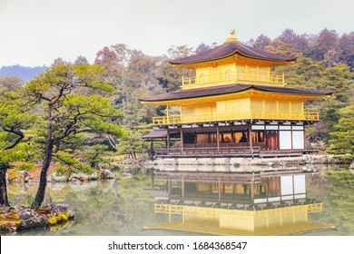 Kinkakuji temple or Rokuon-ji Temple, one of tourist attractions in Kyoto, Japan