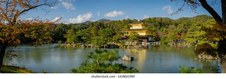 "Kinkaku-ji temple is a Zen Buddhist temple in Kyoto, Japan. Kinkaku-ji known as ""Temple of the golden pavilion"".  Which is a famous world heritage."