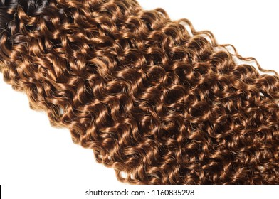 kinky curly ombre style black with dyed brown human hair weaves extensions bundle