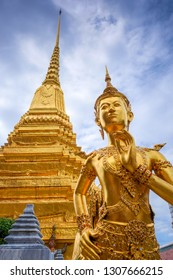 Kinnara golden statue in Grand Palace, Bangkok, Thailand