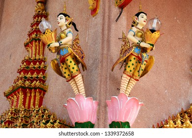 Kinnari lamp Thai mythology The Thai Kinnari is depicted as a young woman wearing an angel-like costume.