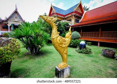 Kinnari statue  in temple of Thailand