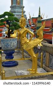 Kinnari statue at the Wat Phra Kaew in Bangkok