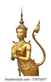 Kinnari statue at Wat Phra Kaew in Grand Palace, Bangkok Thailand.