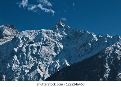 Kinnaur Kailash (Kinner Kailash) peak as seen from Kalpa, Himachal Pradesh.