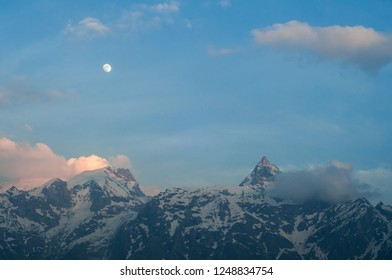 Kinnaur Kailash at sunset, a sacred mountain in the Indian Himalayas
