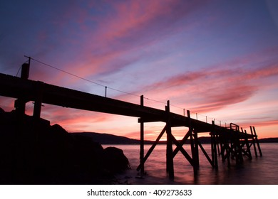 Kinnegar Pier, located in Holywood, beautifully showcases the sunset.