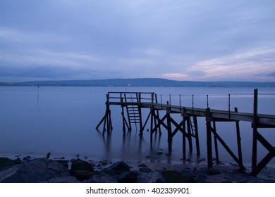Kinnegar Pier, outside Holywood, just after sunset.