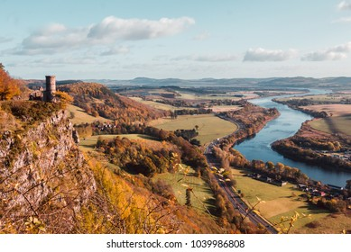 Kinnoull Hill tower ruins, Perth Scotland, overlooking the River Tay on a clear Autumn day