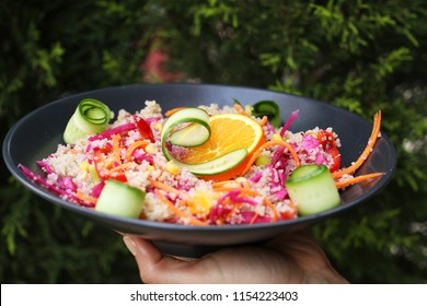 kinoa salad in greens