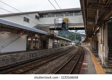 KINOSAKI, JAPAN - JUN 17,2018 : The railway platform at the station in JAPAN.