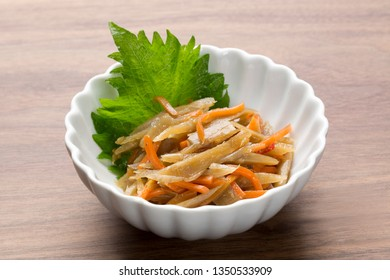 Kinpira gobo /Japanese cuisine/simmered root vegetables with chicken