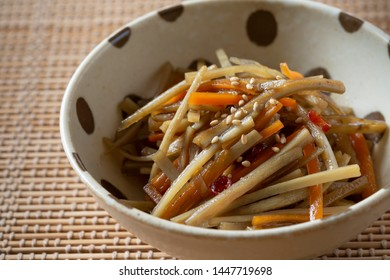 Kinpira gobo(burdock root), traditional japanese dish