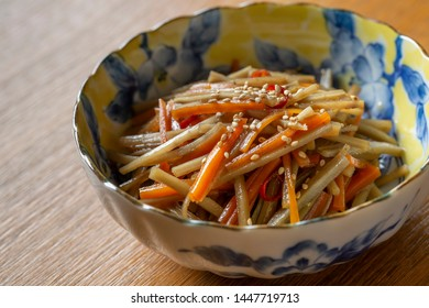Kinpira gobo(burdock root), traditional japanese dish