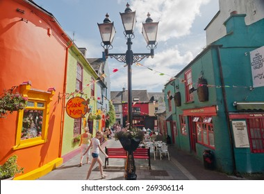 Kinsale, Ireland - 22nd august 2012: Colorful shops and restaurants in downtown kinsale on a sunny summers day.