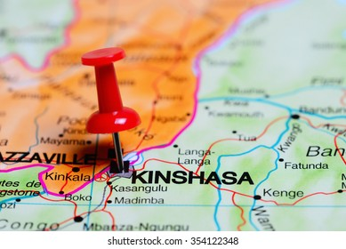 Kinshasa pinned on a map of Africa