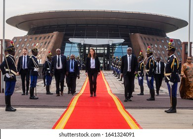 Kinshasa - Republic of the Congo - February 05 2020 : Prime minister of Belgium Sophie Wilmès arriving at Kinshasa's presidential terminal for a diplomatic visit in the Republic of the Congo.