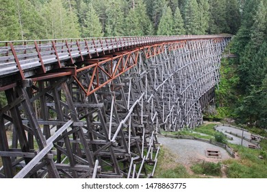 Kinsol Trestle on Vancouver Island, BC, Canada. One of the tallest freestanding timber rail trestle bridges in the world: 44 metres high by 187 metres long. Taken at dusk in August 2019 (horizontal).