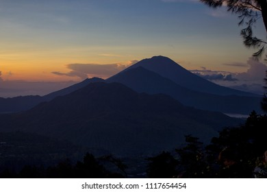Kintamani, Bali. View of sunrise over mountain